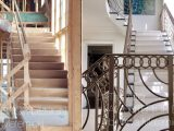 stairway before and after- custom railings
