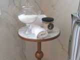 Ensuite table with marble walls