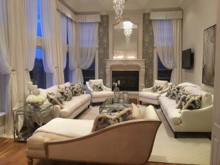Bright and contemporary living room with cusotm furniture designed by AVA Interior Design