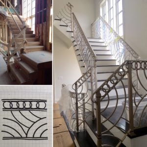 Top interior designer Toronto shows cusotm railing design from concept drawing to custom metal stair railing.
