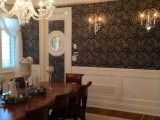 Impressive dining room decor with custom lighting